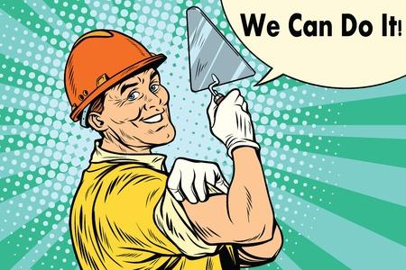 Ilustración de Builder with a trowel we can do it. Pop art retro vector illustration - Imagen libre de derechos
