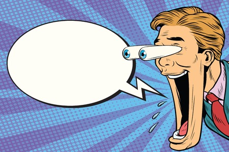 Illustration pour Hyper expressive reaction cartoon man face, big eyes and wide open mouth. Comic bubble. - image libre de droit