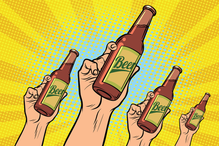 Ilustración de many hands with a bottle of beer - Imagen libre de derechos