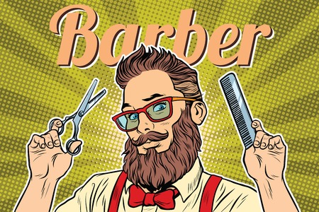 Ilustración de bearded hipster barber with scissors and comb. Pop art retro vector illustration - Imagen libre de derechos