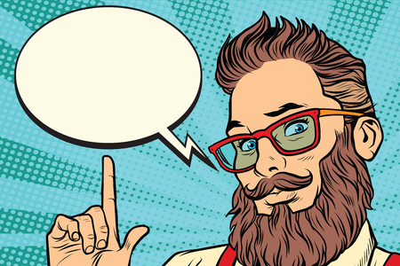Ilustración de Bearded hipster man portrait pointing finger. Comic cloud bubble. Pop art retro vector illustration - Imagen libre de derechos