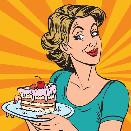 Ilustración de avatar portrait woman with a piece of cake. Pop art retro vector illustration - Imagen libre de derechos