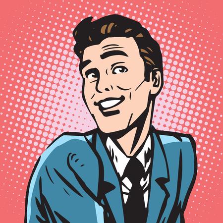 Ilustración de avatar portrait smiling male. Pop art retro vector illustration - Imagen libre de derechos