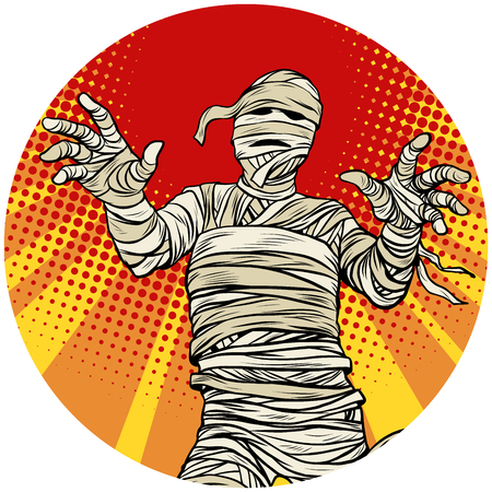 Illustration pour Egyptian mummy walking pop art avatar character icon - image libre de droit