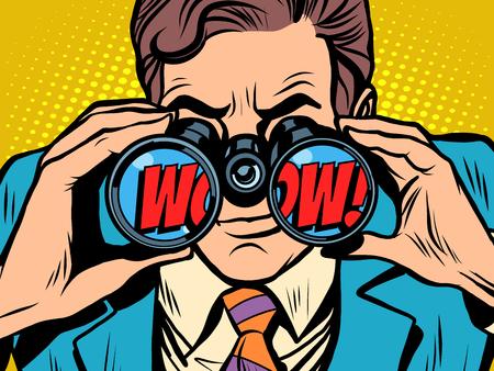 Ilustración de wow Businessman looking through binoculars - Imagen libre de derechos