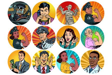 Illustration pour Set of pop art round icons characters avatar. - image libre de droit