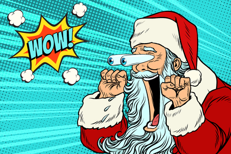 Illustration for Wow Santa Claus Christmas character emotional reaction - Royalty Free Image