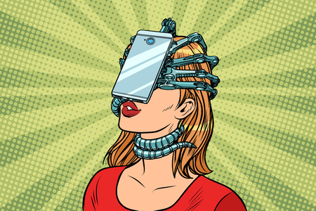 Illustration pour face id smartphone parasite, woman and Internet addiction. Pop art retro vector vintage illustrations - image libre de droit