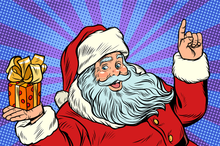 Photo for Santa Claus with Christmas gift box. New year and Christmas. Pop art retro vector illustration - Royalty Free Image