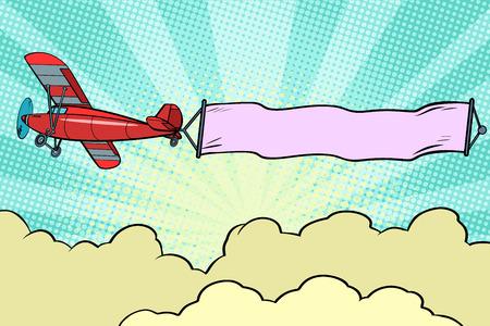 Illustration pour Retro airplane with a ribbon in the sky - image libre de droit
