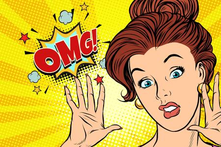 Illustration pour Scared OMG woman. Pop art retro - image libre de droit