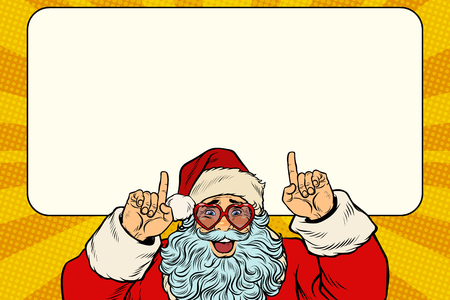 Ilustración de Santa Claus points to the white background - Imagen libre de derechos