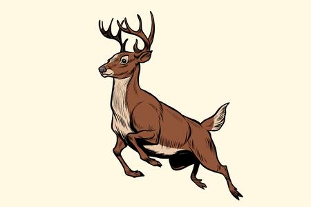Illustration for Running deer jump - Royalty Free Image