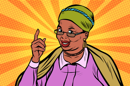 Illustration pour African elderly woman pointing finger up - image libre de droit
