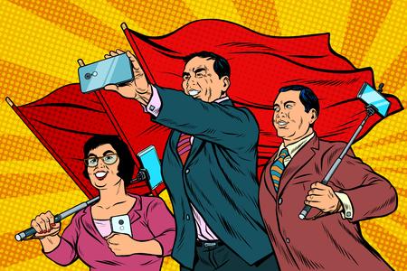 Ilustración de Chinese businessmen with smartphones and flags, poster socialist - Imagen libre de derechos