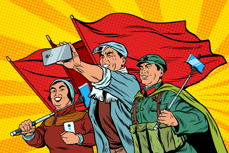 Ilustración de Chinese workers with smartphones selfie, poster socialist realis - Imagen libre de derechos