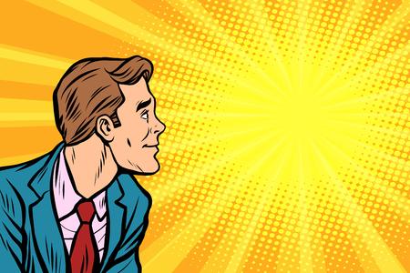 Illustration pour Retro businessman copy space background - image libre de droit