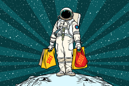 Illustration for Lone retro astronaut with a sale shopping bags - Royalty Free Image