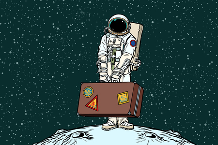 Illustration pour Astronaut traveler with travel suitcase. Refugees and migration. Ecology and problems of the Earth. Pop art retro vector illustration - image libre de droit