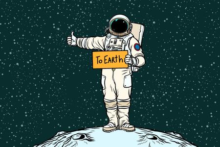 Illustration pour Astronaut hitch rides on Earth - image libre de droit
