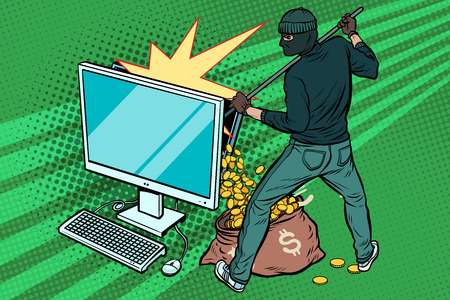 Ilustración de Online hacker steals dollar money from computer. Pop art retro vector illustration - Imagen libre de derechos