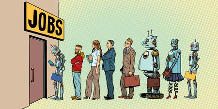Ilustración de competition of people and robots for jobs. technological revolution. Unemployment in the digital world. Pop art retro vector illustration - Imagen libre de derechos