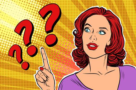 Ilustración de question mark pop art woman - Imagen libre de derechos