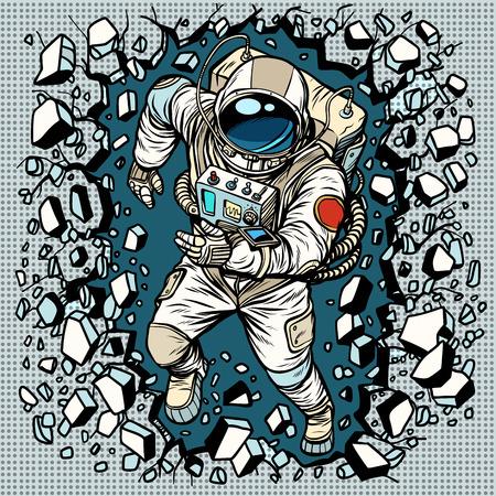 Illustration pour Astronaut breaks the wall, leadership and determination. Pop art retro comic book vector cartoon vector illustration hand drawing - image libre de droit