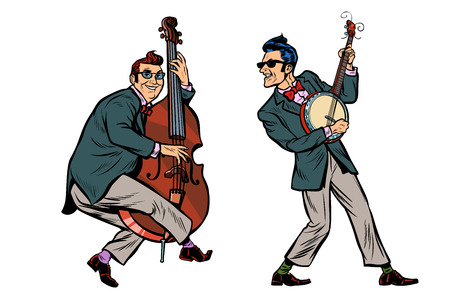 Illustration pour rockabilly jazz musicians, double bass and banjo. isolated on white background. Pop art retro vector illustration comic cartoon hand drawing - image libre de droit