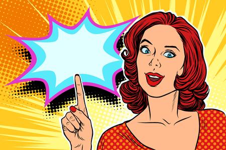 Ilustración de pop art woman pointing finger up retro vector illustration - Imagen libre de derechos