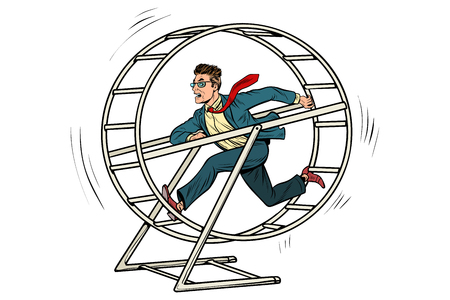 Illustration pour businessman in a squirrel wheel - image libre de droit