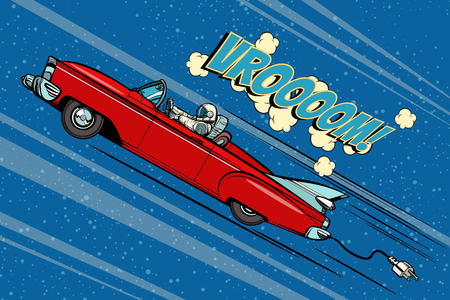 Illustration for Astronaut sitting behind the wheel of a car. Pop art retro vector illustration comic cartoon hand drawn vector - Royalty Free Image