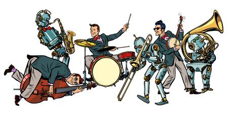 Ilustración de futuristic jazz orchestra of humans and robots, isolated on white background. Pop art retro vector illustration comic cartoon hand drawing - Imagen libre de derechos