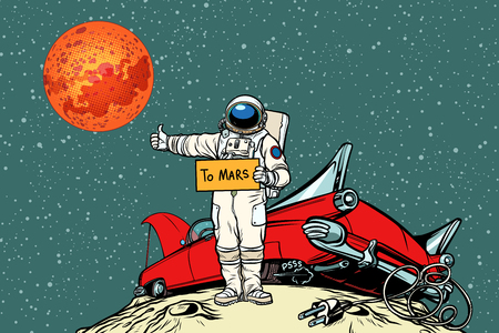 Illustration pour The road to Mars. car broke down in space, astronaut hitchhiker - image libre de droit