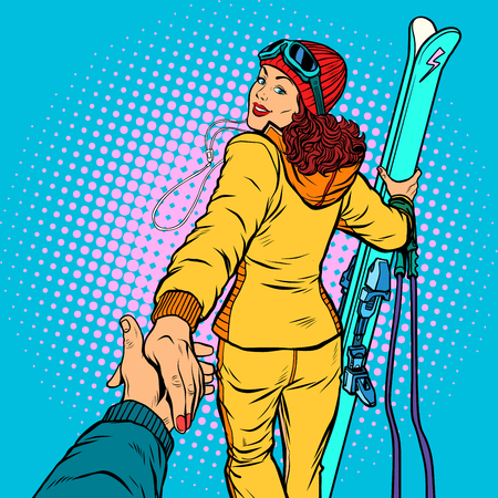 Illustration pour Skier woman, extreme winter sports. follow me concept, couple love hand leads. Pop art retro vector illustration comic cartoon vector vintage kitsch drawing - image libre de droit