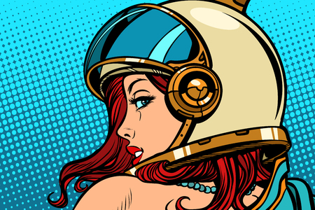 Illustration pour Woman astronaut looking over her shoulder. Pop art retro comic book cartoon drawing vector illustration kitsch vintage. - image libre de droit