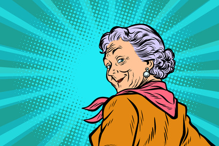 Ilustración de Gray haired grandmother a good look. Pop art retro vector illustration comic cartoon figure vintage kitsch. - Imagen libre de derechos