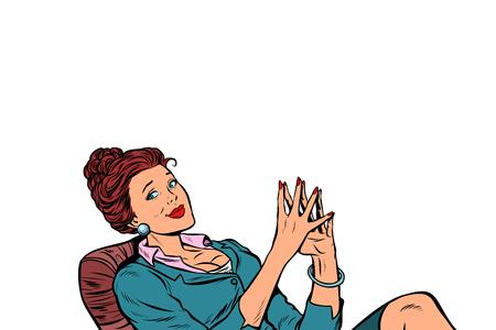 Foto de Businesswoman sitting at the table relaxed. isolated on white background. Pop art retro vector illustration comic cartoon vintage kitsch - Imagen libre de derechos