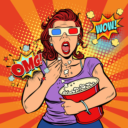 Illustration pour Woman in 3d glasses watching a scary movie and eating popcorn. Fast food in the cinema hall. Pop art retro vector illustration comic cartoon vintage kitsch - image libre de droit