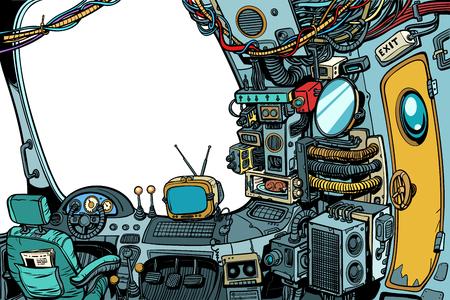 Illustration pour Navigational cabin of the spaceship - image libre de droit