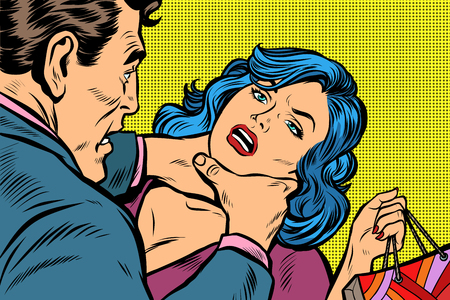 Ilustración de Scandal and domestic violence, a woman came with purchases from the sale. Pop art retro vector illustration kitsch drawing - Imagen libre de derechos
