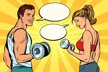 Illustration pour man and woman with dumbbells. comic strip dialogue bubble. Pop art retro vector illustration kitsch drawing - image libre de droit