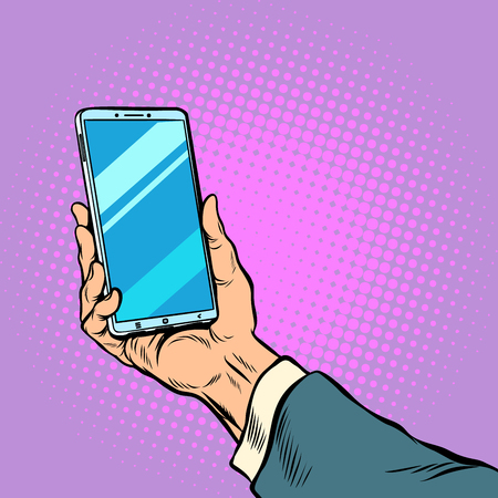 Illustration pour Smartphone in male hand selfie. Pop art retro vector illustration comic cartoon kitsch drawing - image libre de droit