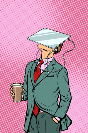 Illustration pour Businessman drinking coffee and watching tablet virtual reality. Pop art retro comics cartoon vector illustration kitsch drawing - image libre de droit
