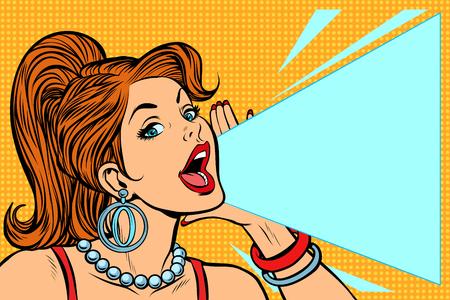Ilustración de Woman announcing discount. Lady shouts protests. Pop art retro vector illustration comic cartoon kitsch vintage drawing. - Imagen libre de derechos