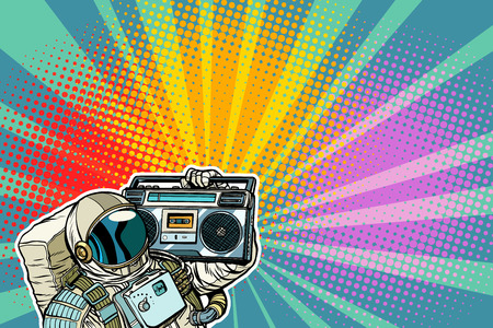 Photo pour astronaut with Boombox, audio and music. Pop art retro vector illustration comic cartoon vintage kitsch drawing - image libre de droit