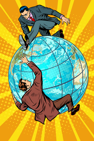 Illustration pour Two people fighting on the planet Earth - image libre de droit