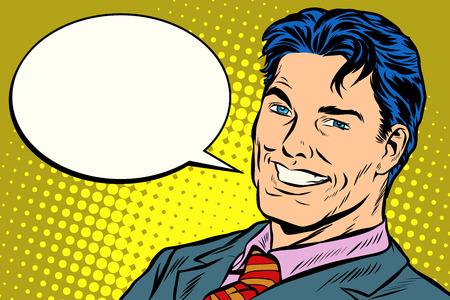 Illustrazione per smiling businessman speech comics bubble - Immagini Royalty Free
