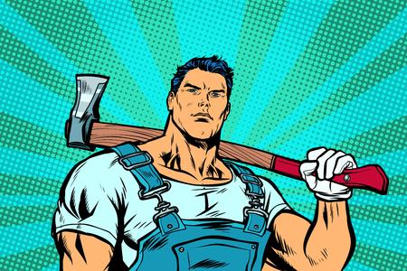 Ilustración de Woodcutter. man with woodcutter ax - Imagen libre de derechos