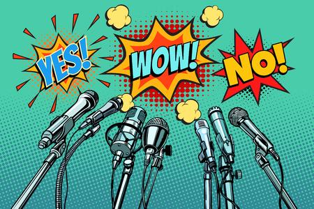 Illustration pour press conference microphones background, Yes no wow - image libre de droit